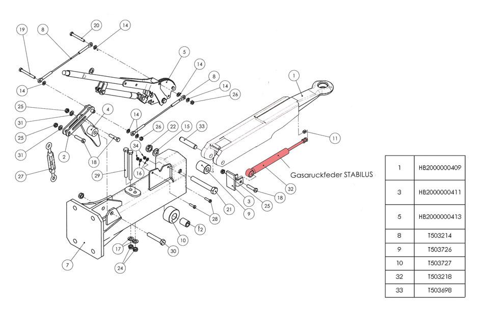 Brantner Kipper und Anhänger - Gasfeder für Auflaufeinrichtung HB BAT (32)