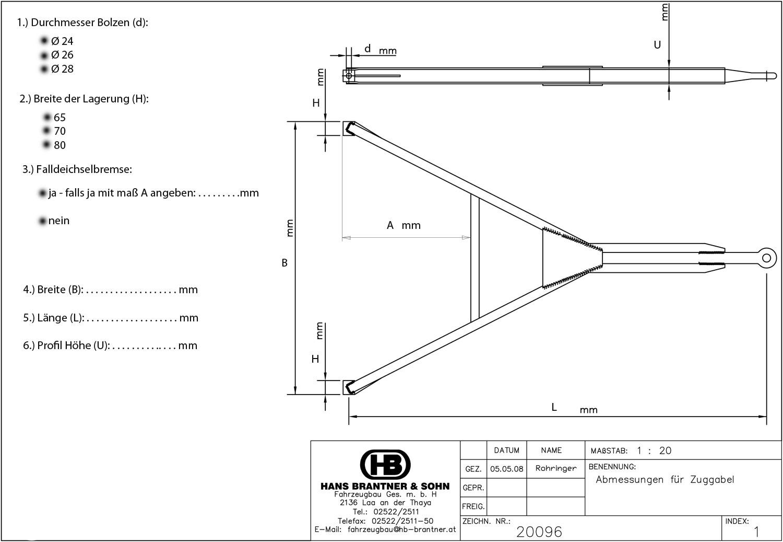 Brantner Kipper und Anhänger - Zuggabel U65 - aus U Profil 65mm hoch laut