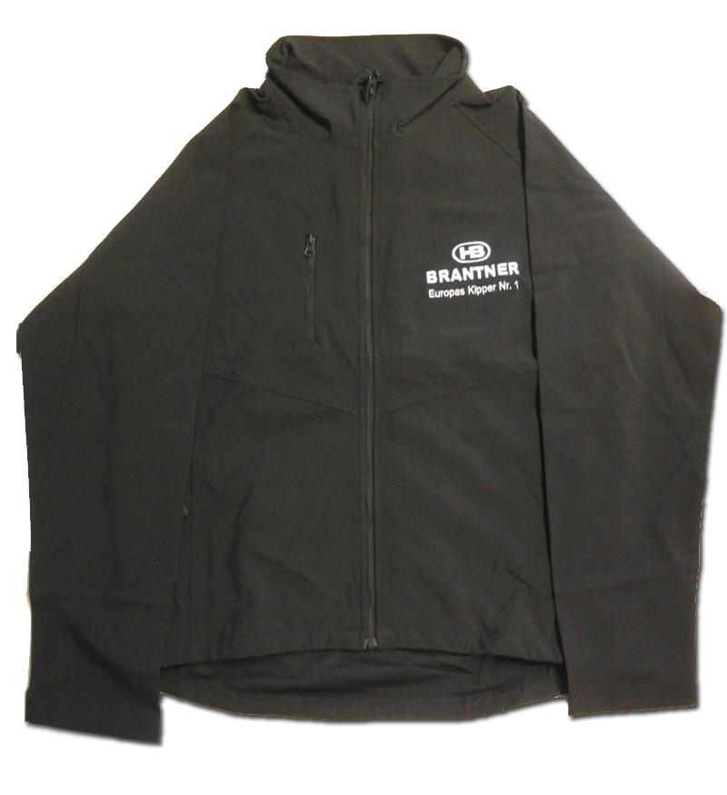 Brantner Kipper und Anhänger - Softshell-Jacke schwarz, Logo weiß Größe M