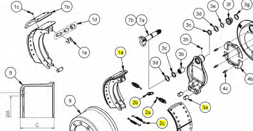 Brantner Kipper und Anhänger - Bremsbackensatz 406x120 für Bremse 412E ADR