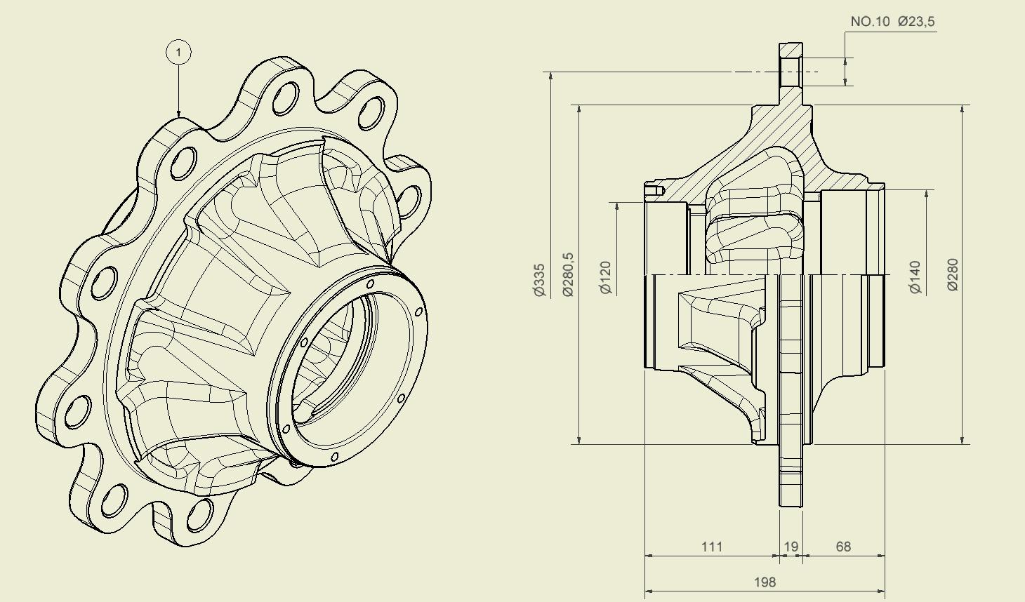 Brantner Kipper und Anhänger - Radnabe 10 Loch für M22x1,5 ADR für Achstyp