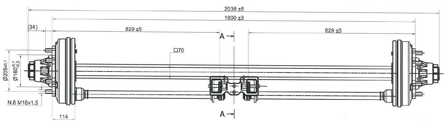 Brantner Kipper und Anhänger - Achse 70/300x60/1800/6 mittig ADR