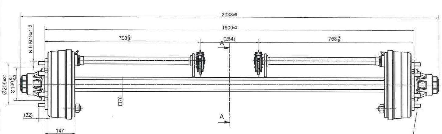 Brantner Kipper und Anhänger - Achse 70/300x90: 309E/1800/6 mittig GSK ADR