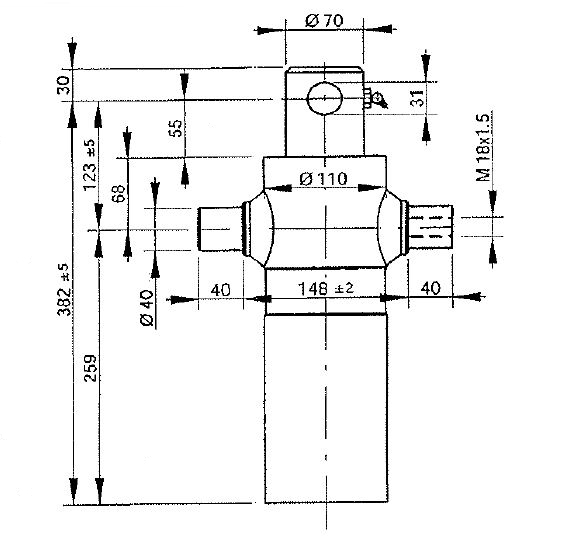 Brantner Kipper und Anhänger - HD Zylinder EW 75/90-460 M18x1,5 PE