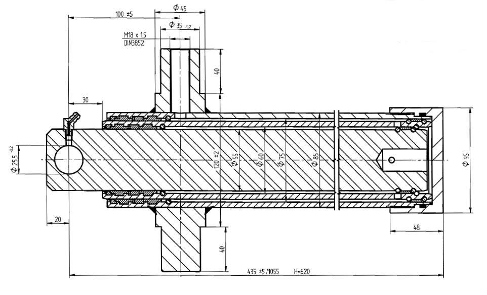Brantner Kipper und Anhänger - HD Zylinder EW 60/75-620 M18x1,5 SM