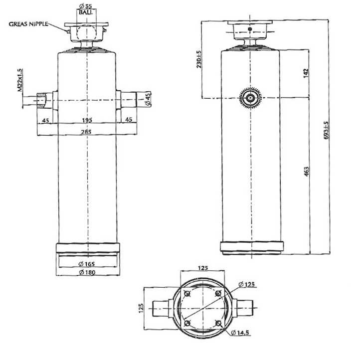 Brantner Kipper und Anhänger - HD Zylinder EW 75/90/105/120/140-2500 M22x1,5 MR