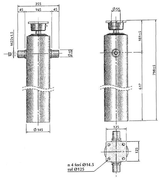 Brantner Kipper und Anhänger - HD Zylinder EW 90/105/120-1800 M22x1,5 MR