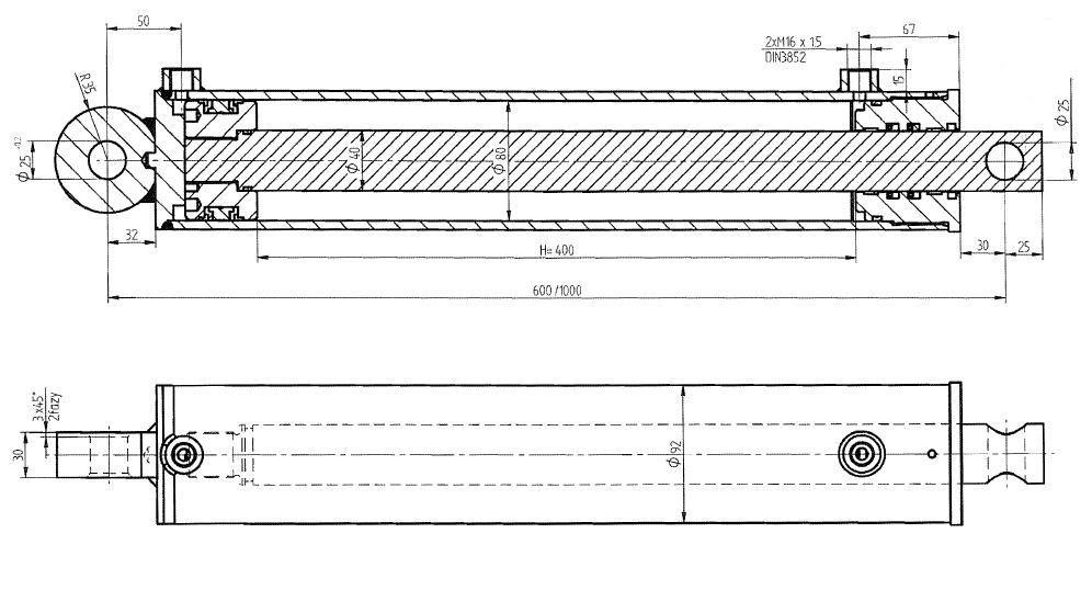 Brantner Kipper und Anhänger - HD Zylinder DW 80/40-400 Skraw-Met