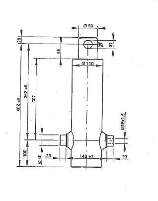 Brantner Kipper und Anhänger - HD Zylinder EW 75/90-620 M18x1,5 PE