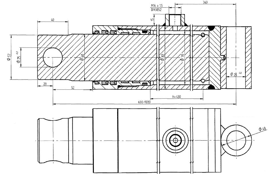 Brantner Kipper und Anhänger - HD Zylinder EW 60-430 M16x1,5 SM