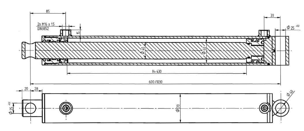 Brantner Kipper und Anhänger - HD Zylinder DW 60/40-430 M16x1,5 SM