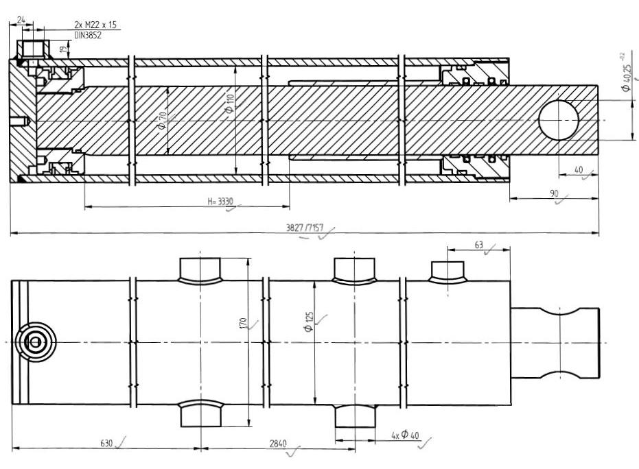 Brantner Kipper und Anhänger - HD Zylinder DW 110x70-3330 (Skraw-Met)
