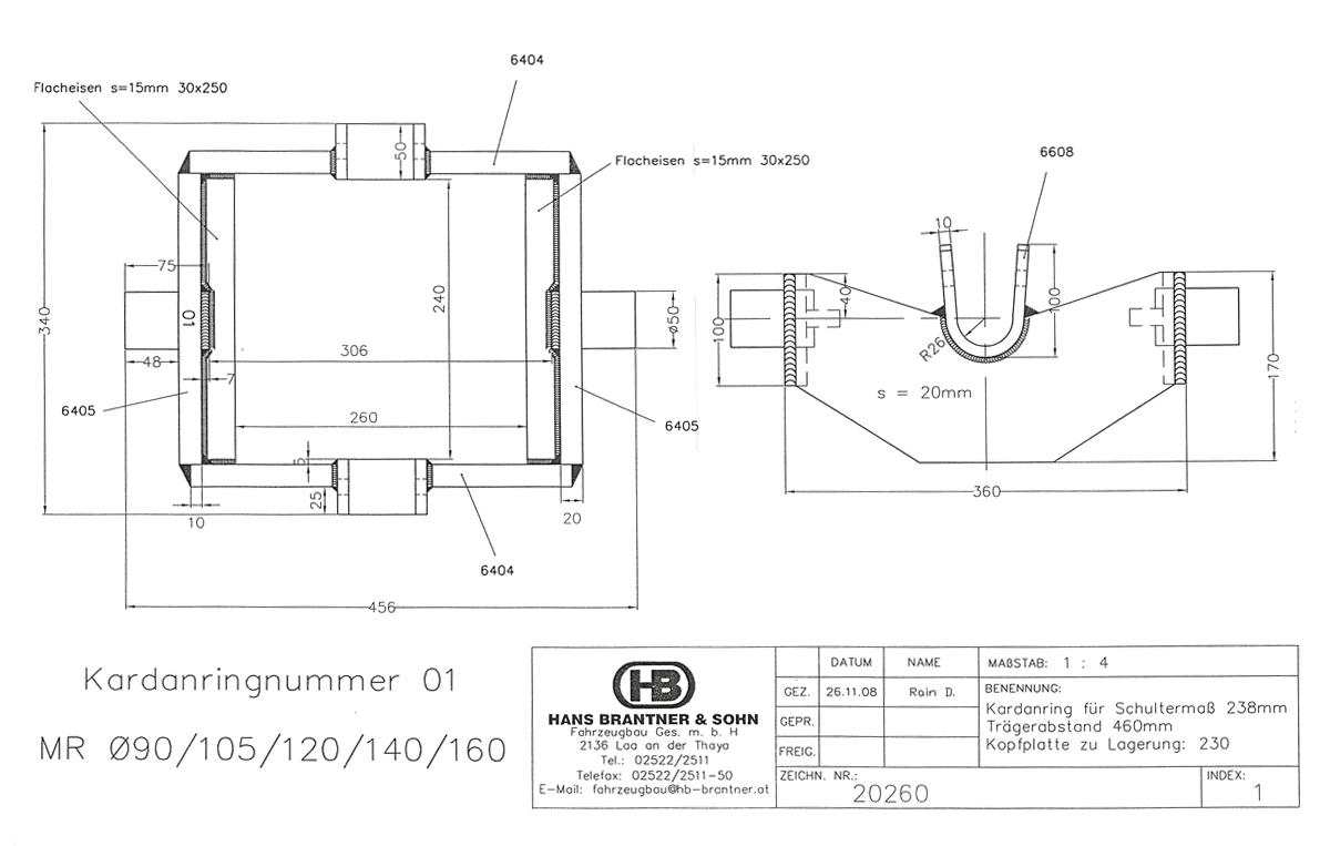 Brantner Kipper und Anhänger - Kardanring  01 - Roh, Trägerabstand 460 mm