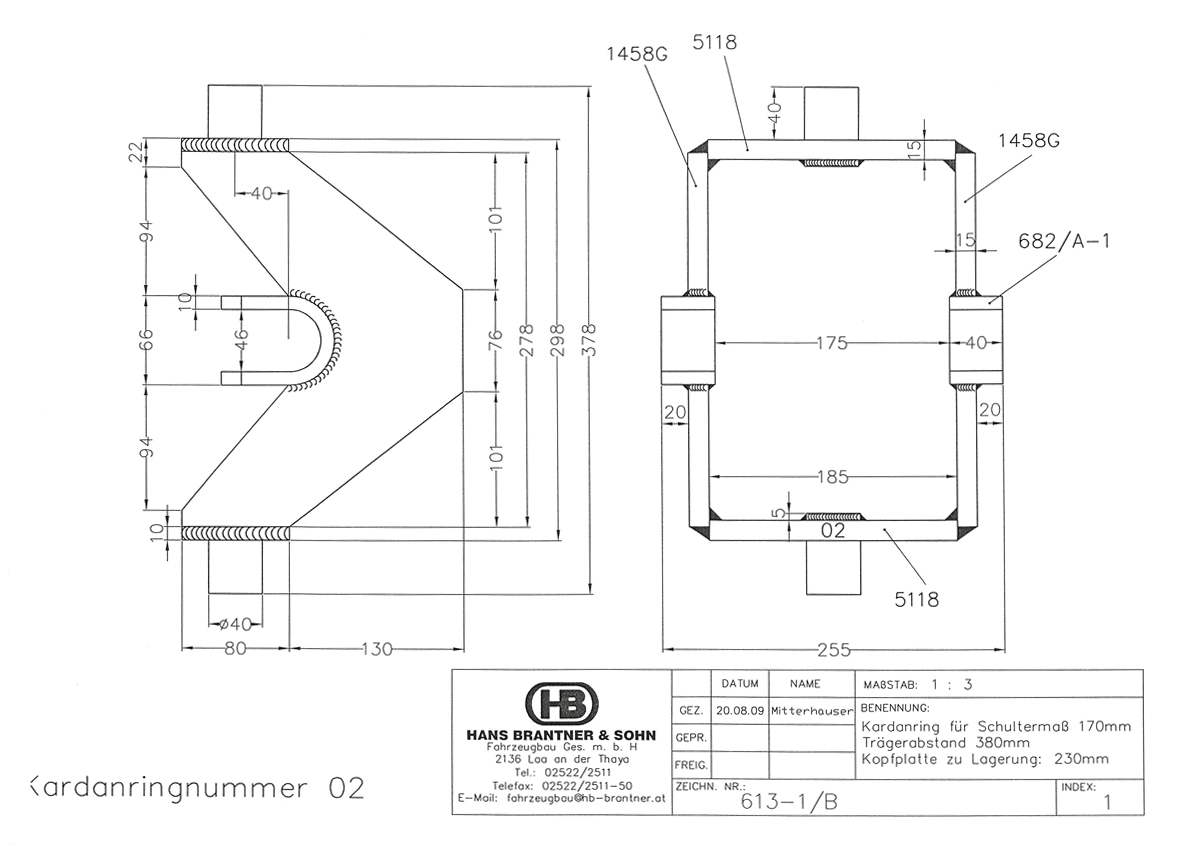 Brantner Kipper und Anhänger - Kardanring  02  Znr:613-1B,  Trägerabstand 380 mm
