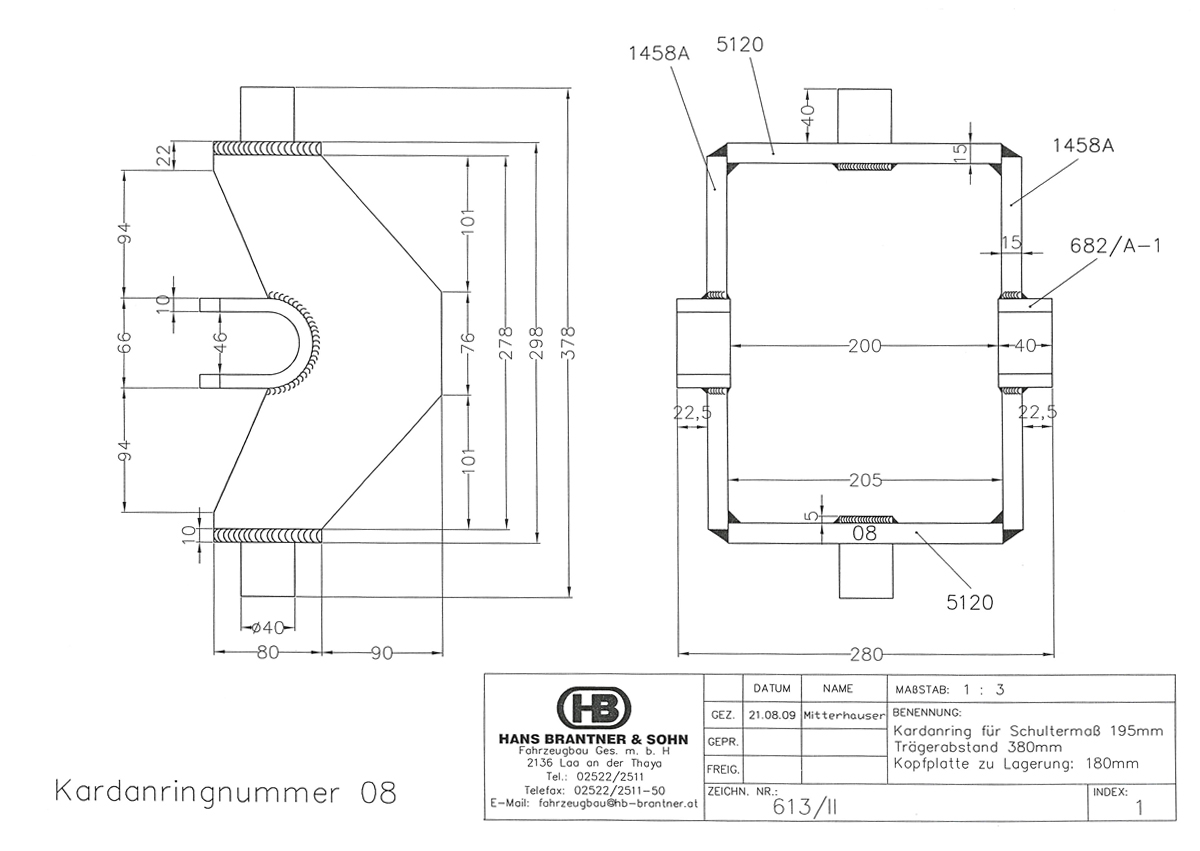 Brantner Kipper und Anhänger - Kardanring 08, Znr.613/II, Trägerabstand 380mm