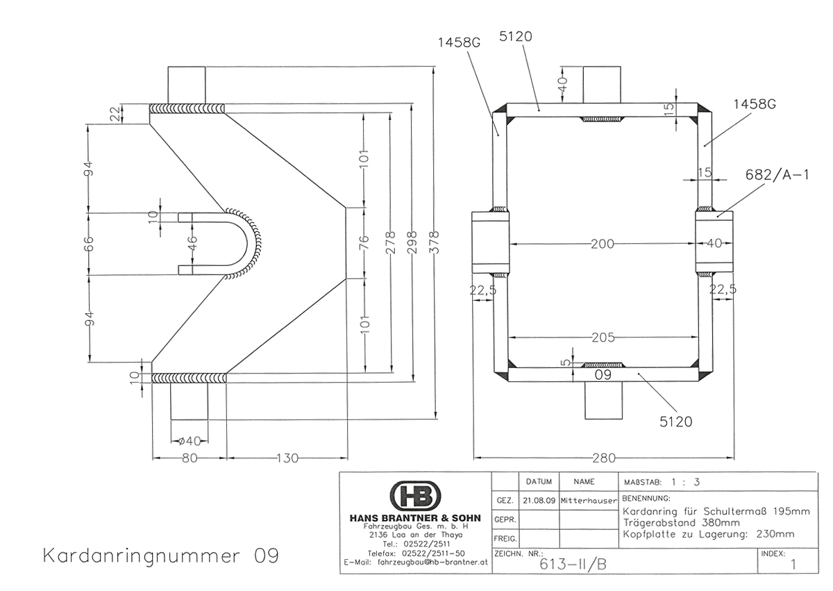 Brantner Kipper und Anhänger - Kardanring 09, Znr. 613-II/B, Trägerabstand 380mm
