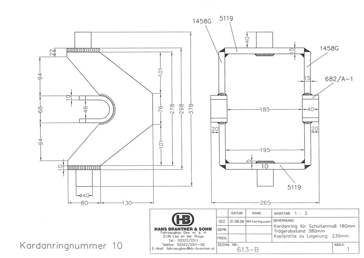 Brantner Kipper und Anhänger - Kardanring 10, Znr. 613-B, Trägerabstand 380