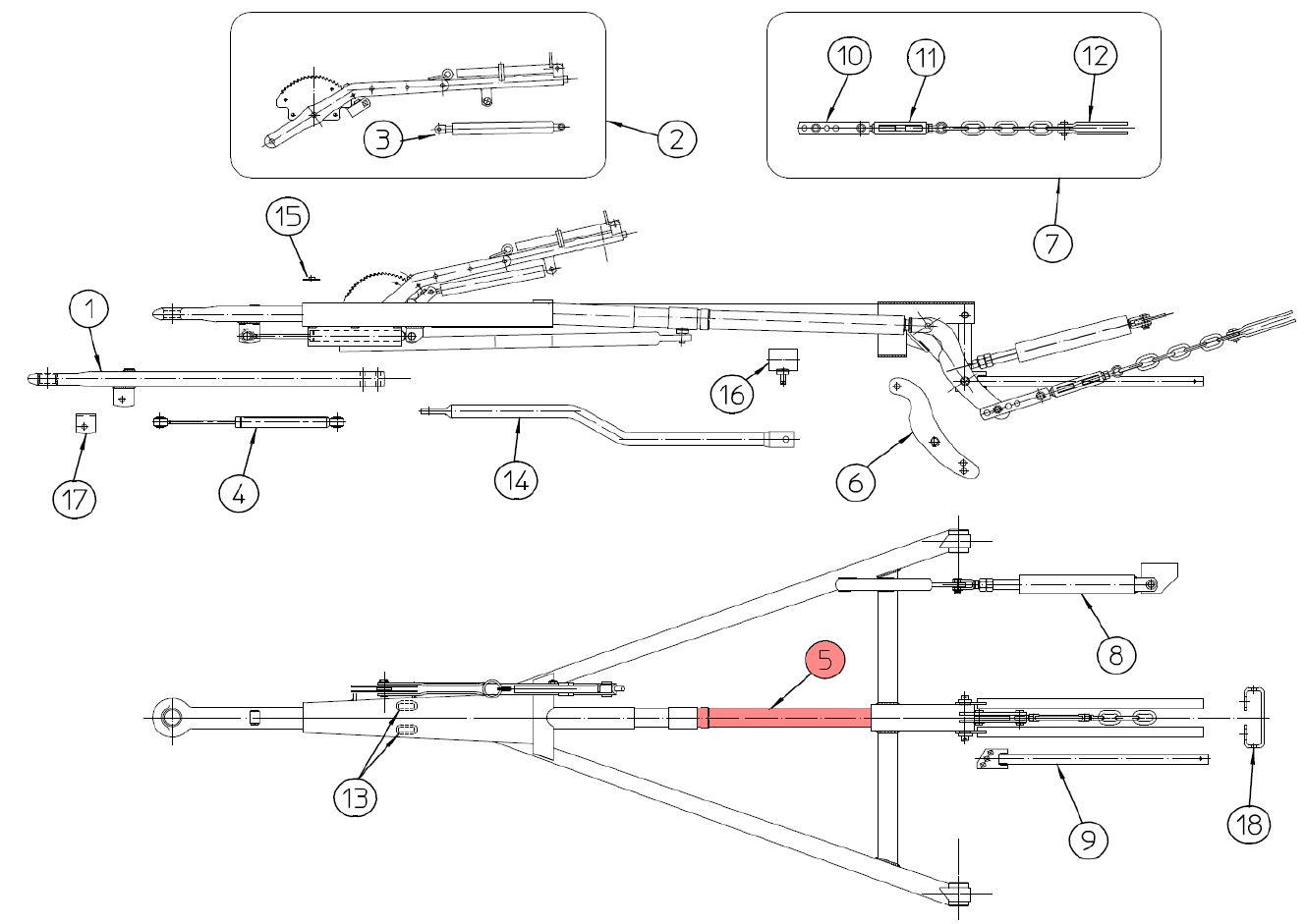 Brantner Kipper und Anhänger - Druckgestänge für ZA80-AR FAD