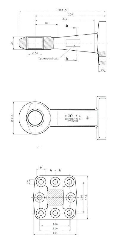 Brantner Kipper und Anhänger - Flanschzugöse nach DIN 74053-50D1