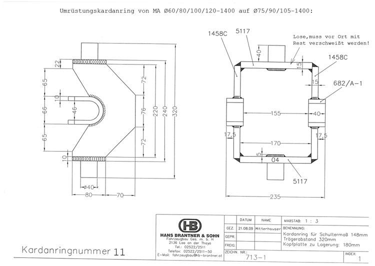 Brantner Kipper und Anhänger - Kardanring 11, Znr.713-1, Trägerabstand 320mm