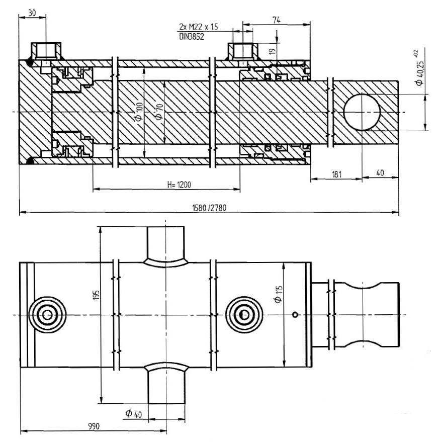 Brantner Kipper und Anhänger - HD Zylinder DW 100x70-1200