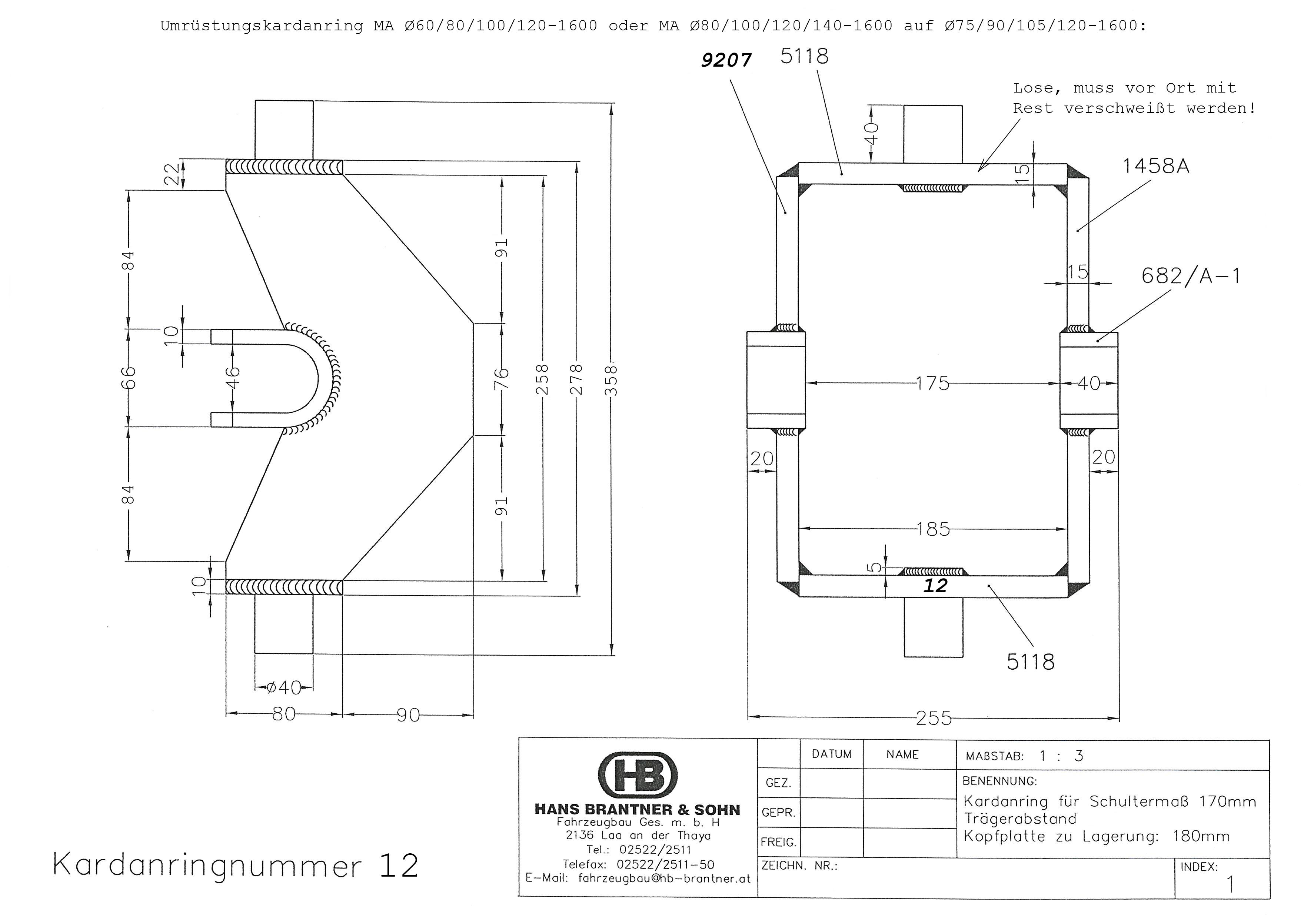 Brantner Kipper und Anhänger - Kardanring 12, Trägerabstand 360
