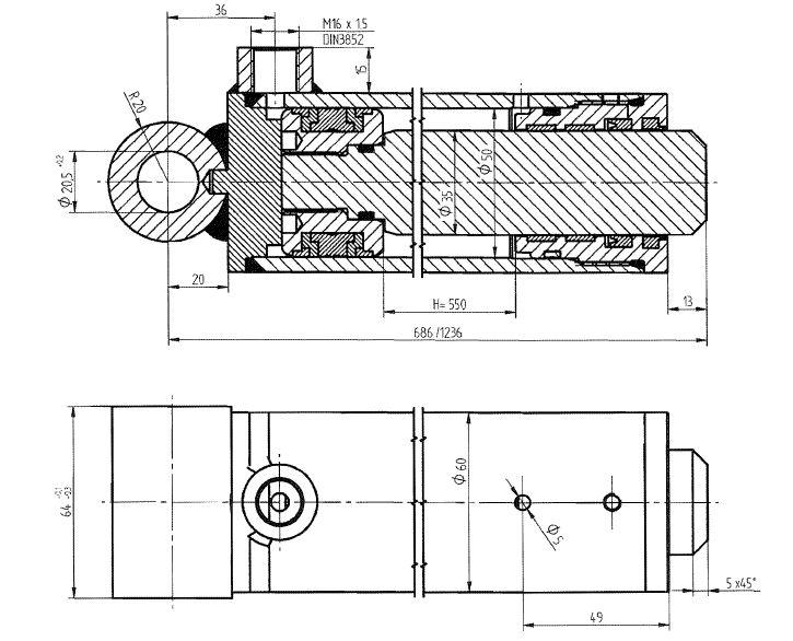 Brantner Kipper und Anhänger - HD Zylinder EW 50/35-550 SM