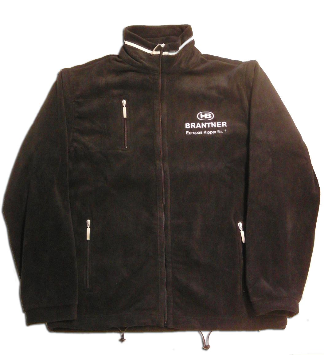 Brantner Kipper und Anhänger - FLEECE-Jacke schwarz, Logo weiß Größe XXL
