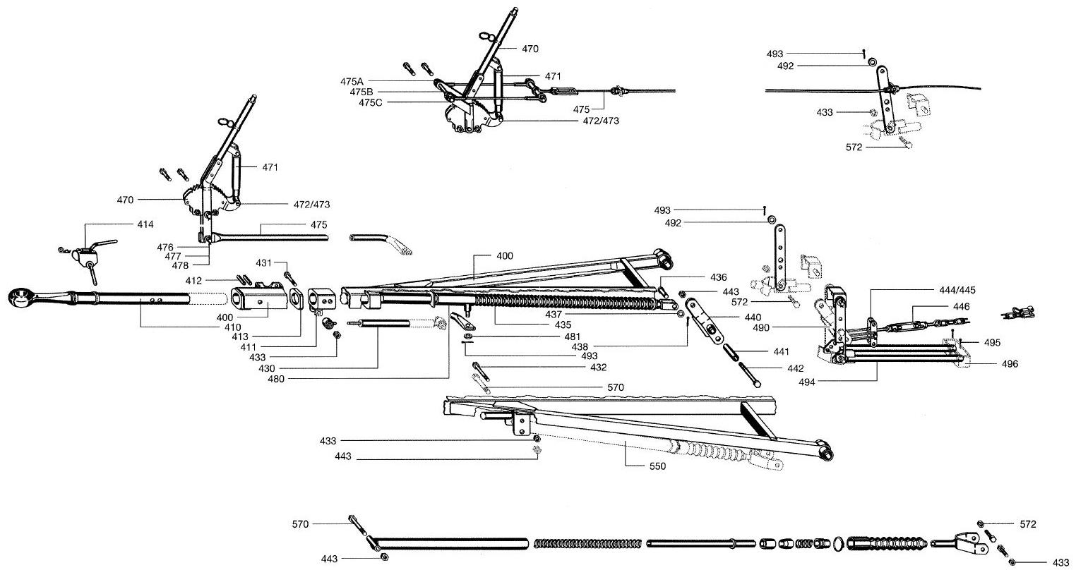 Brantner Kipper und Anhänger - Gasfeder f. Feststellbremshebel AVE+AM 2000 BPW