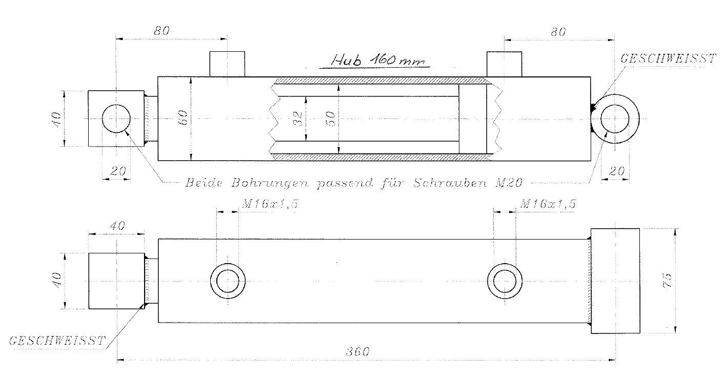 Brantner Kipper und Anhänger - HD Zylinder DW 50/30-160 MTE seitl hydr BW-Öffnung