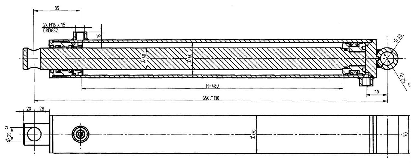 Brantner Kipper und Anhänger - HD Zylinder DW 60/40-480 M16x1,5 SM
