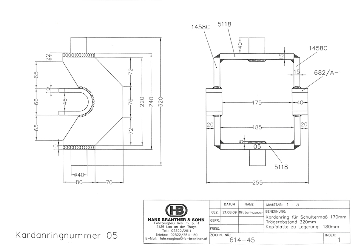 Brantner Kipper und Anhänger - Kardanring 05-VZ, Znr.614-45, Trägerabstand 320mm