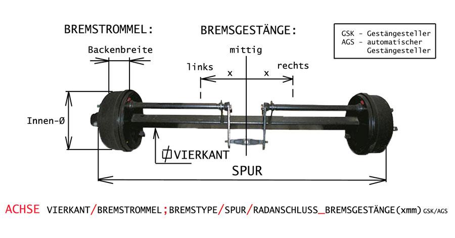 Brantner Kipper und Anhänger - Achse 55/300x60/980/6 rechts 120mm RI