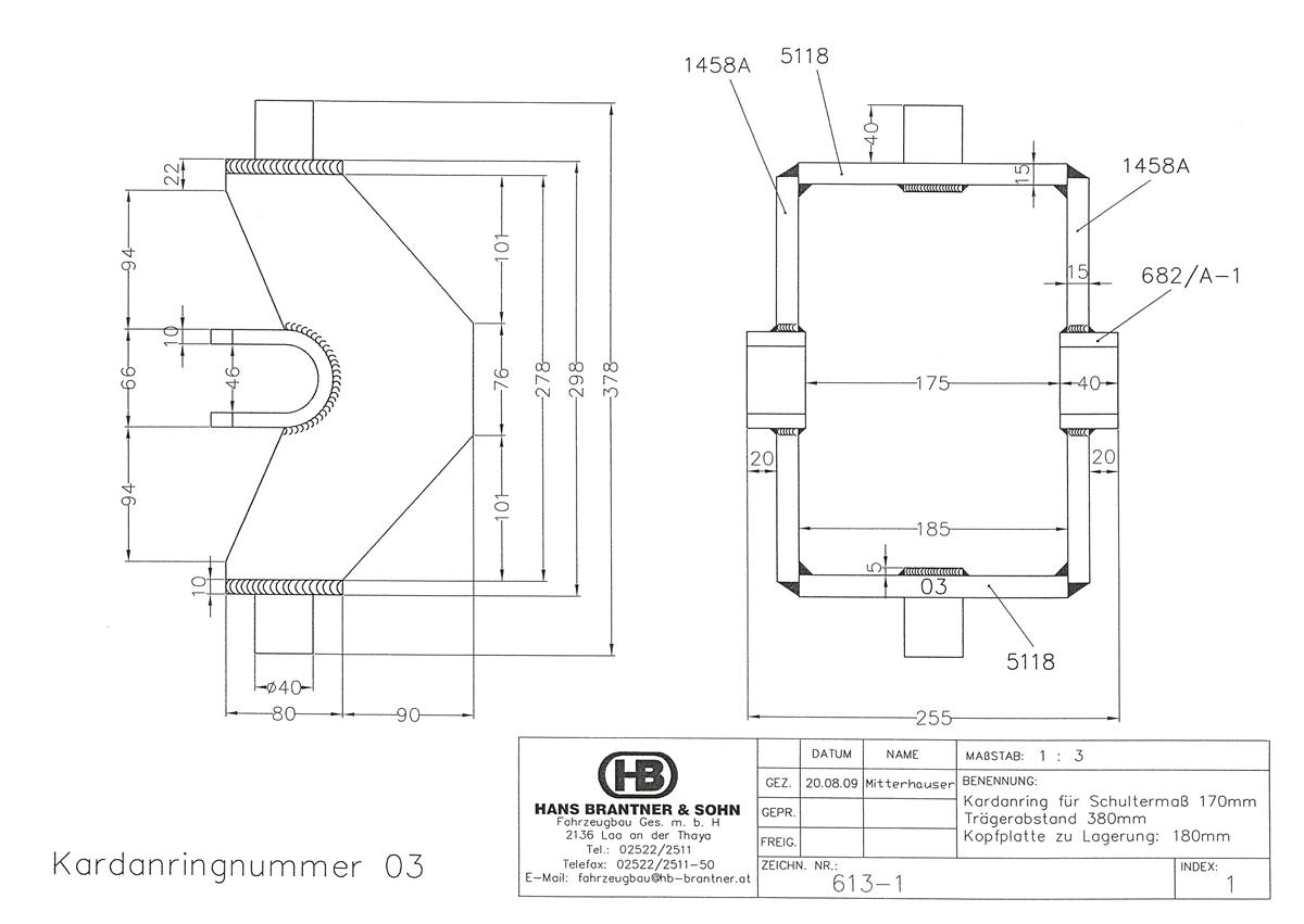 Webshop Fa Brantner Fahrzeugbau Traeger Schematic Kipper Und Anhnger Kardanring 03 Vz Znr 613 1 Trgerabstand 380mm