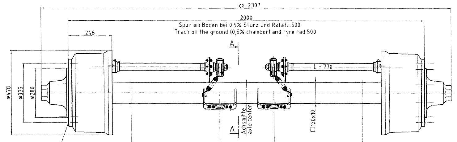 Brantner Kipper und Anhänger - Achse 120/410x180;FL4118/2000/10 mittig GSK BPW