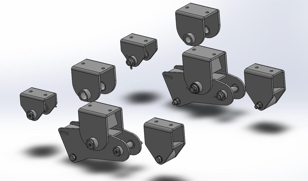 Brantner Kipper und Anhänger - Repsatz Tandemaggregat für Achsabstand 1600 mm