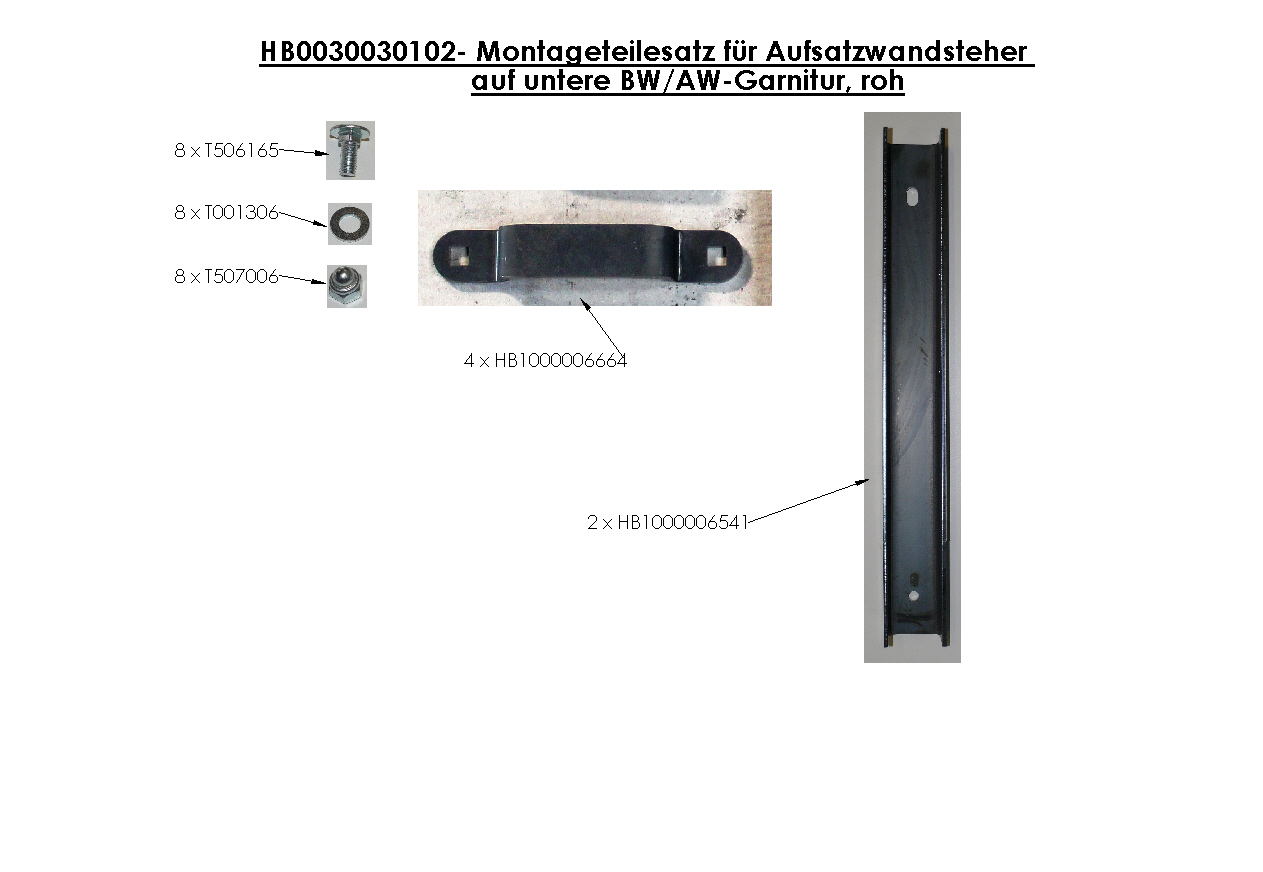 Brantner Kipper und Anhänger - assembly kit für attachment wall stanchion
