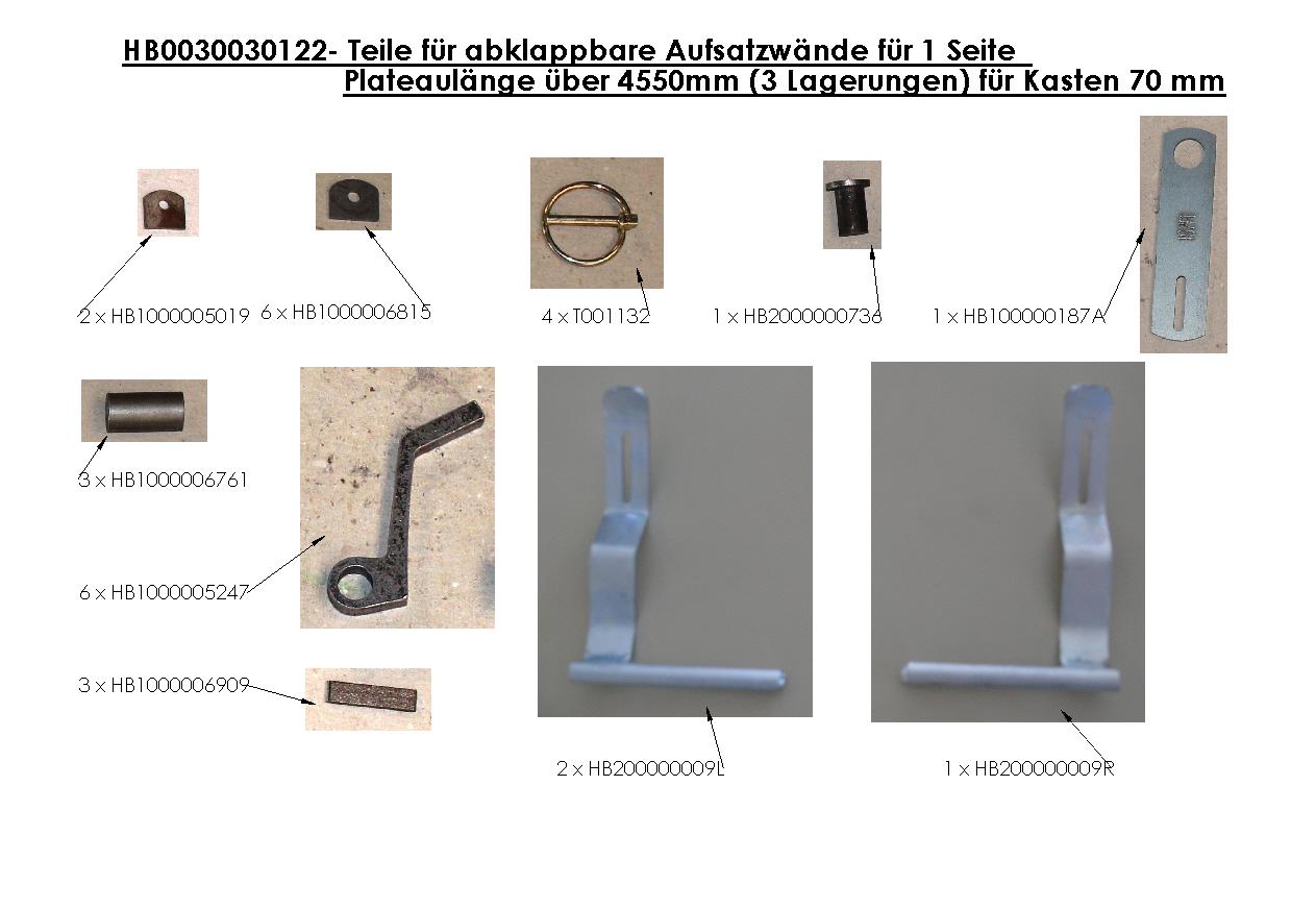 Brantner Kipper und Anhänger - parts for hinged steel attachment boards f. 1 side