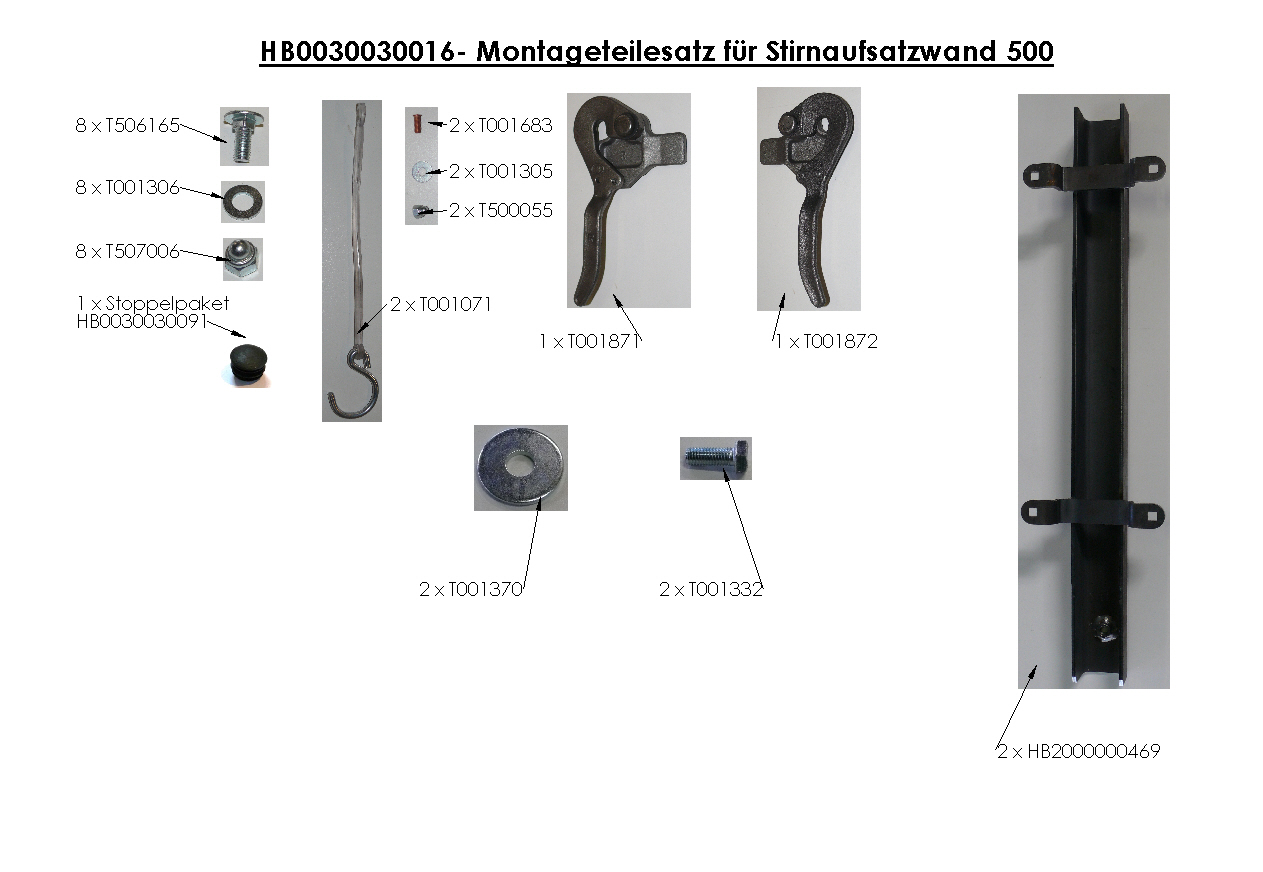 Brantner Kipper und Anhänger - assembly kit for front attachment wall 500