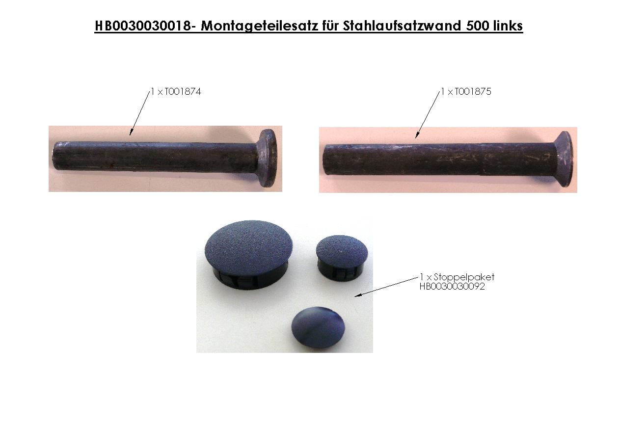 Brantner Kipper und Anhänger - assembly kit for steel attachment wall 500 left