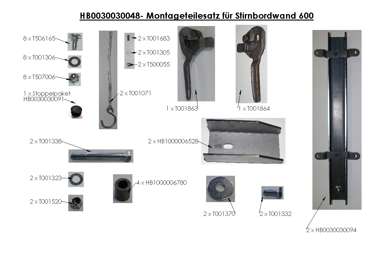 Brantner Kipper und Anhänger - assembly kit for front sideboard wall 600