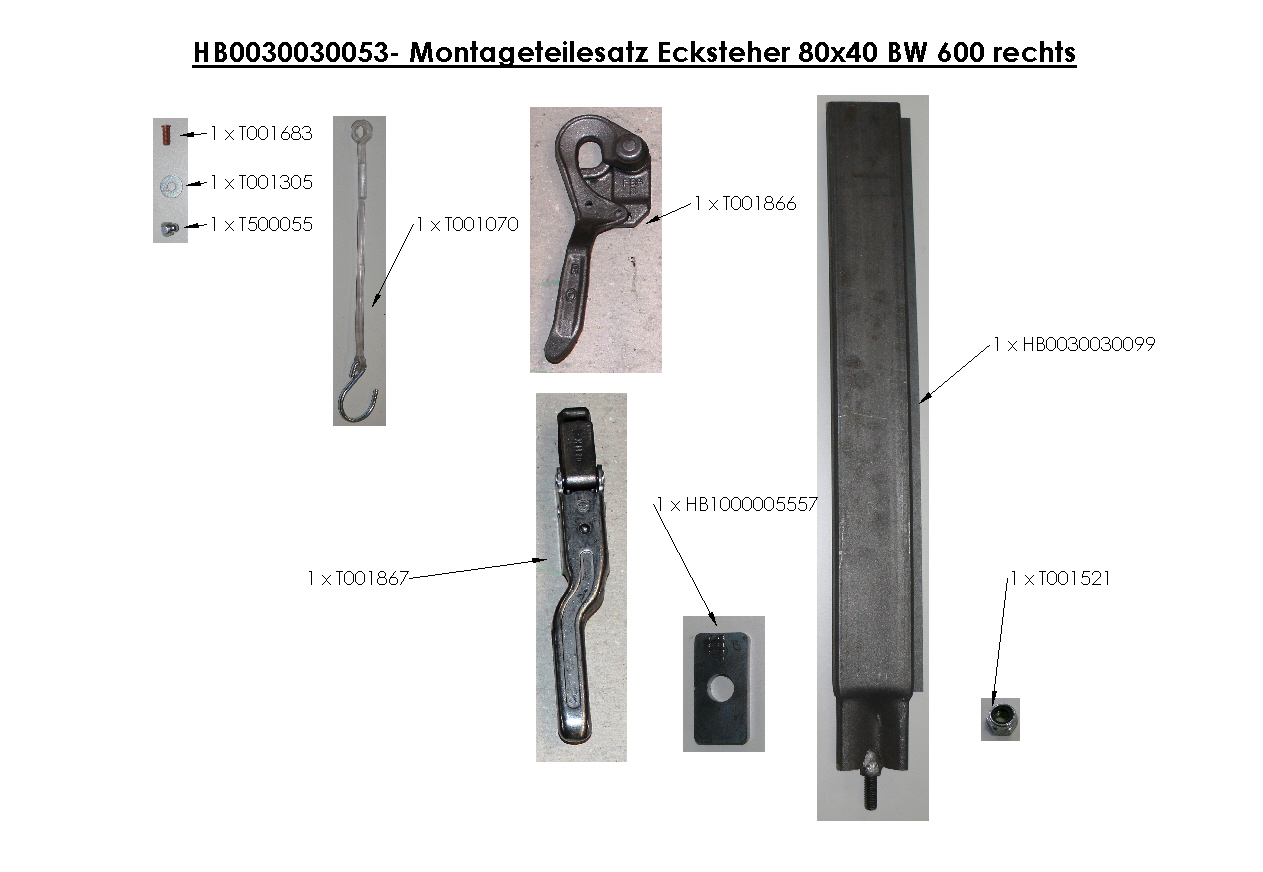 Brantner Kipper und Anhänger - assembly kit corner stanchions 80x40 sideboardwall