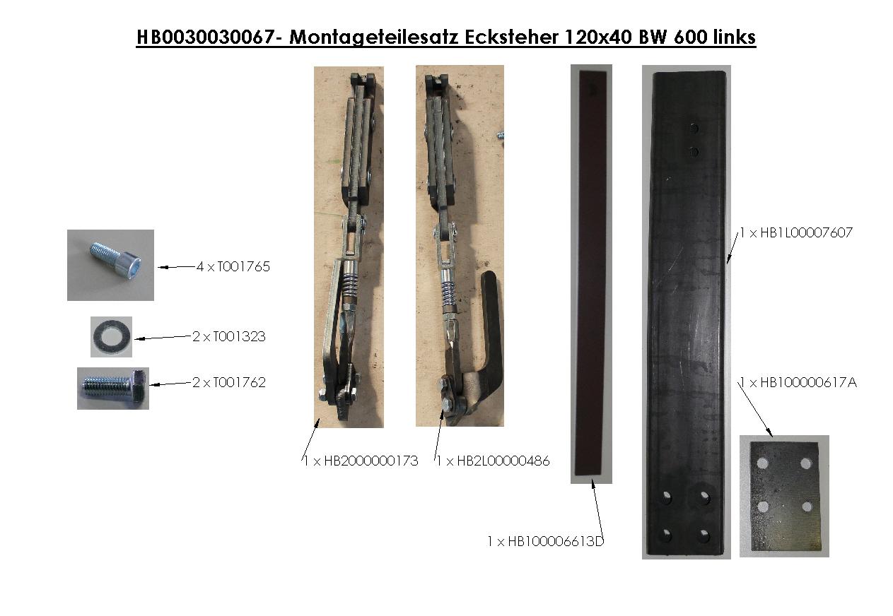Brantner Kipper und Anhänger - Montageteilesatz Ecksteher 120x40 BW 600 links