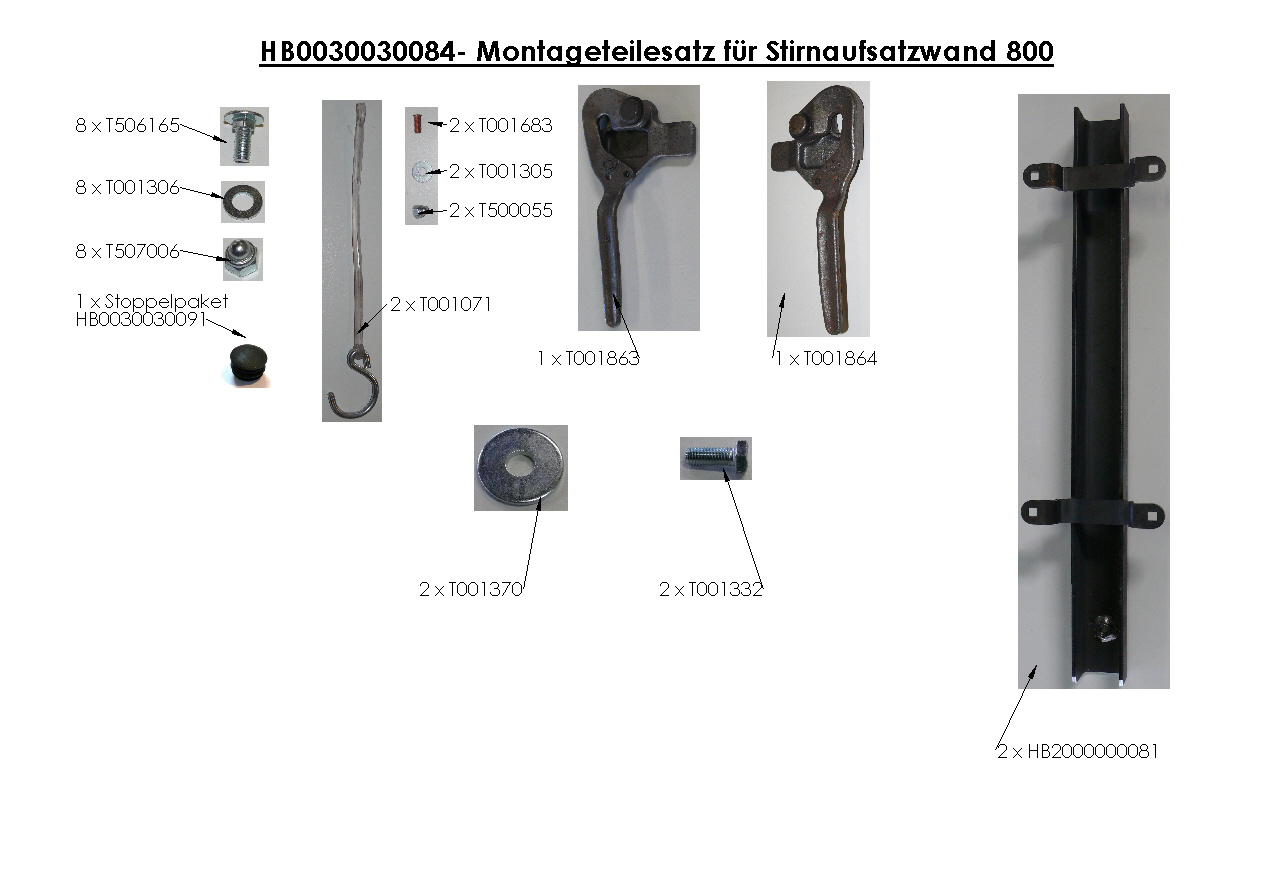Brantner Kipper und Anhänger - assembly kit for front attachment wall 800