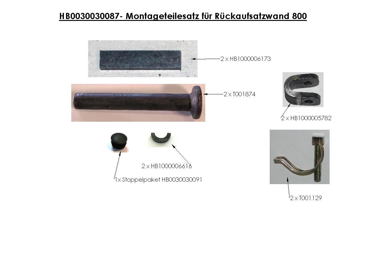 Brantner Kipper und Anhänger - assembly kit for rear attachment wall 800
