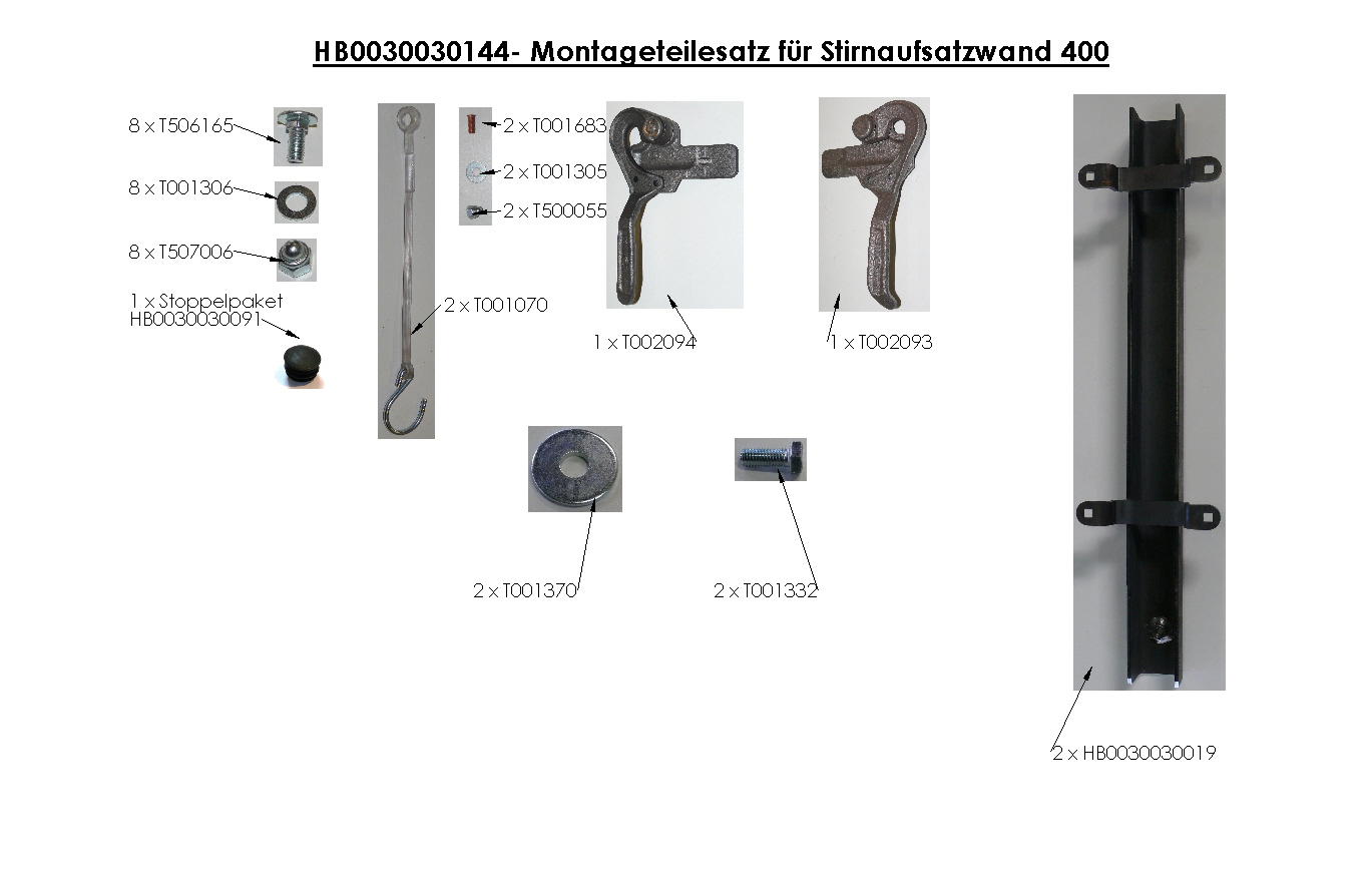 Brantner Kipper und Anhänger - assembly kit for front attachment wall 400