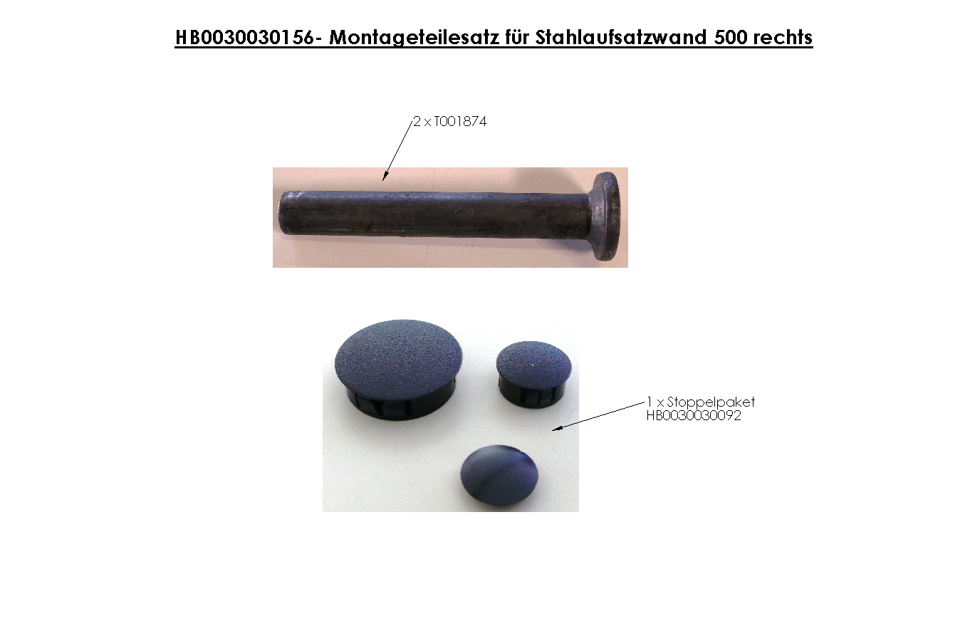 Brantner Kipper und Anhänger - assembly kit for steel attachment wall 500 right