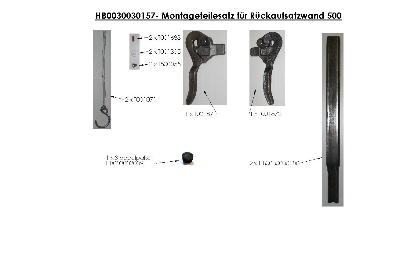 Brantner Kipper und Anhänger - Montageteilesatz für Rückaufsatzwand 500