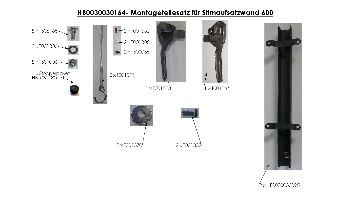 Brantner Kipper und Anhänger - assembly kit for front attachment wall 600