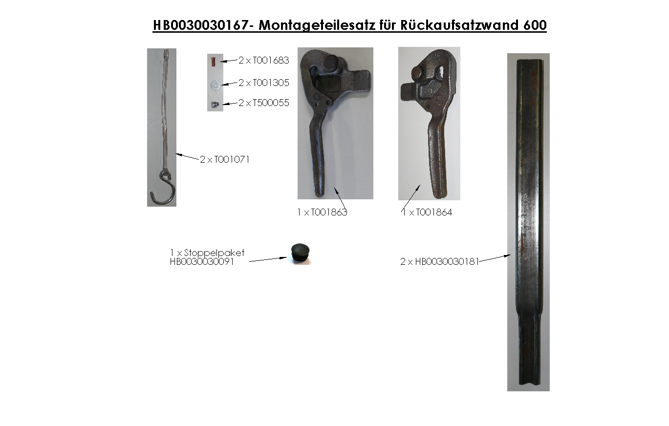Brantner Kipper und Anhänger - assembly kit for rear attachment wall 600